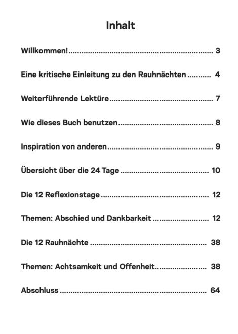 Rauhnächte Arbeitsbuch: Inhaltsverzeichnis